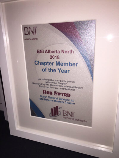 Rob Swyrd - BNI Alberta North 2018 - Chapter Member Of The Year