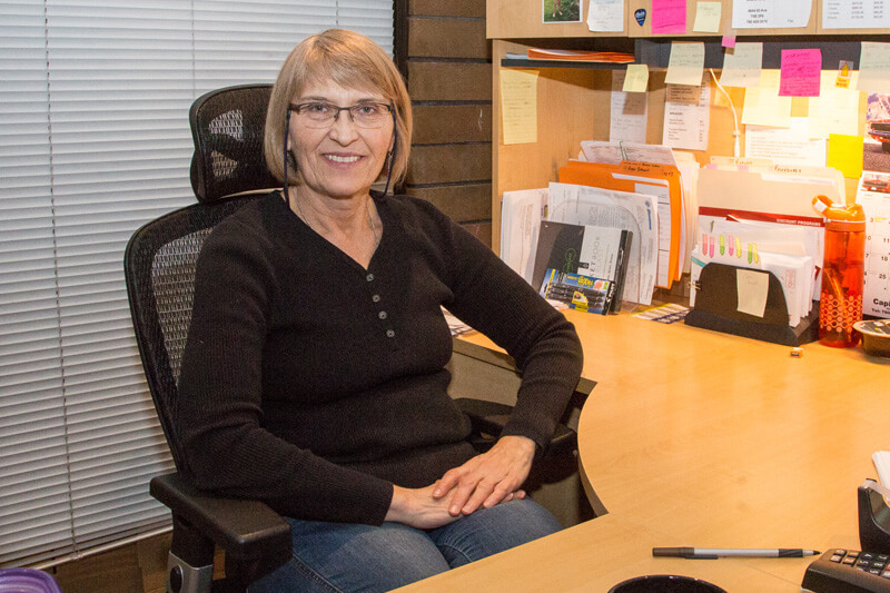 Sharon at the office